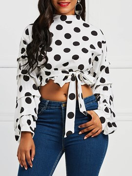 Ericdress Polka Dots Short Lace-Up Long Sleeve Blouse