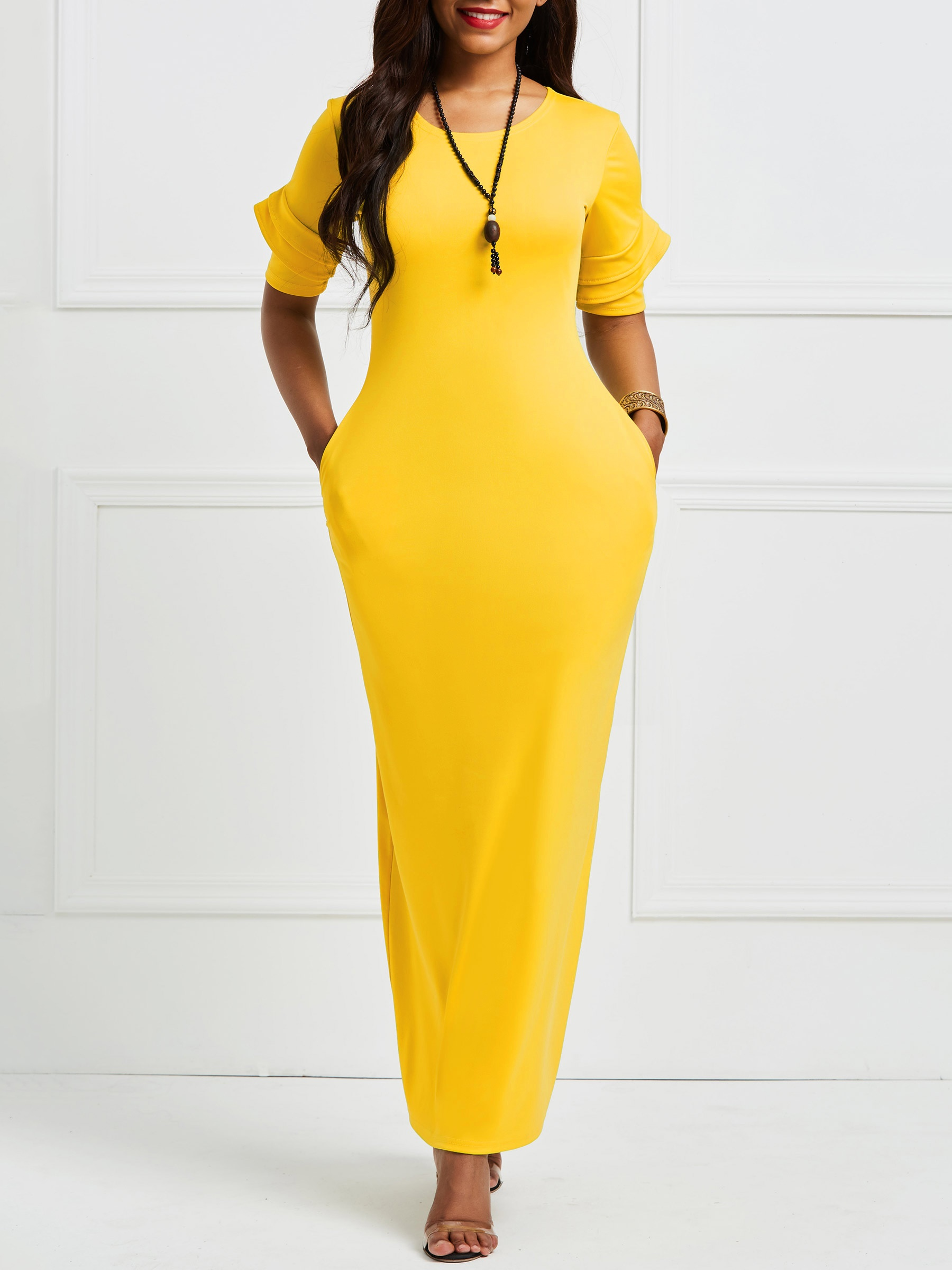 Ericdress Yellow Half Sleeves Patchwork Pullover Bodycon Dress 13319317