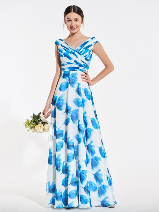 Ericdress A Line V Neck Print Long Bridesmaid Dress