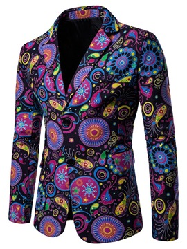 Ericdress Geometric Color Block Print Mens Casual Blazer Jacket