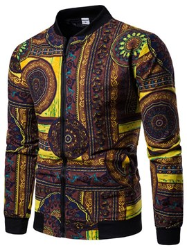 Ericdress Geometric Print Stand Collar Mens Casual Jacket