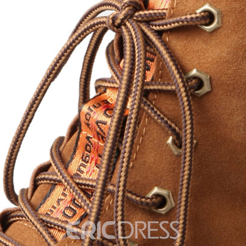 Ericdress Faux Suede Lace-Up Front Block Heel Martin Boots