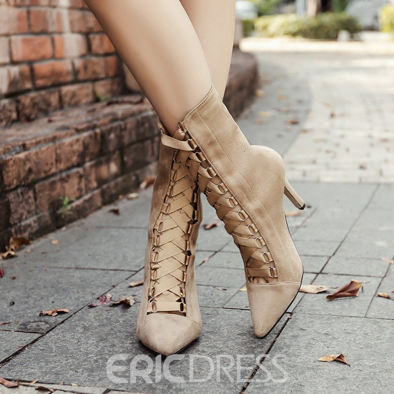 Ericdress Pointed Toe Back Zip Stiletto Heel Ankle Boots