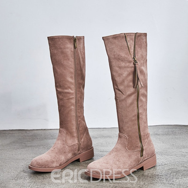 Ericdress Fringe Side Zipper Block Heel Knee High Boots