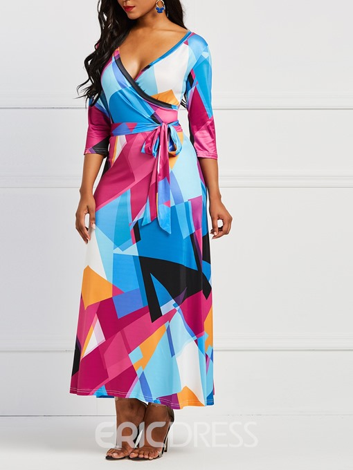 Ericdress Geometric Print V-Neck Women's Dress