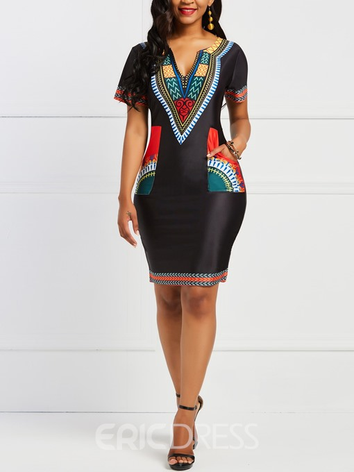 Ericdress Bodycon Geometric African Ethnic Style Women's Dress