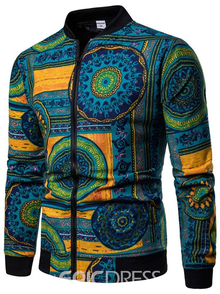Ericdress Blue Geometric Pattern Printed Zipper Mens Casual Jacket