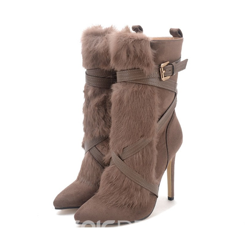 Ericdress Pompon Side Zipper Stiletto Heel Women's Ankle Boots