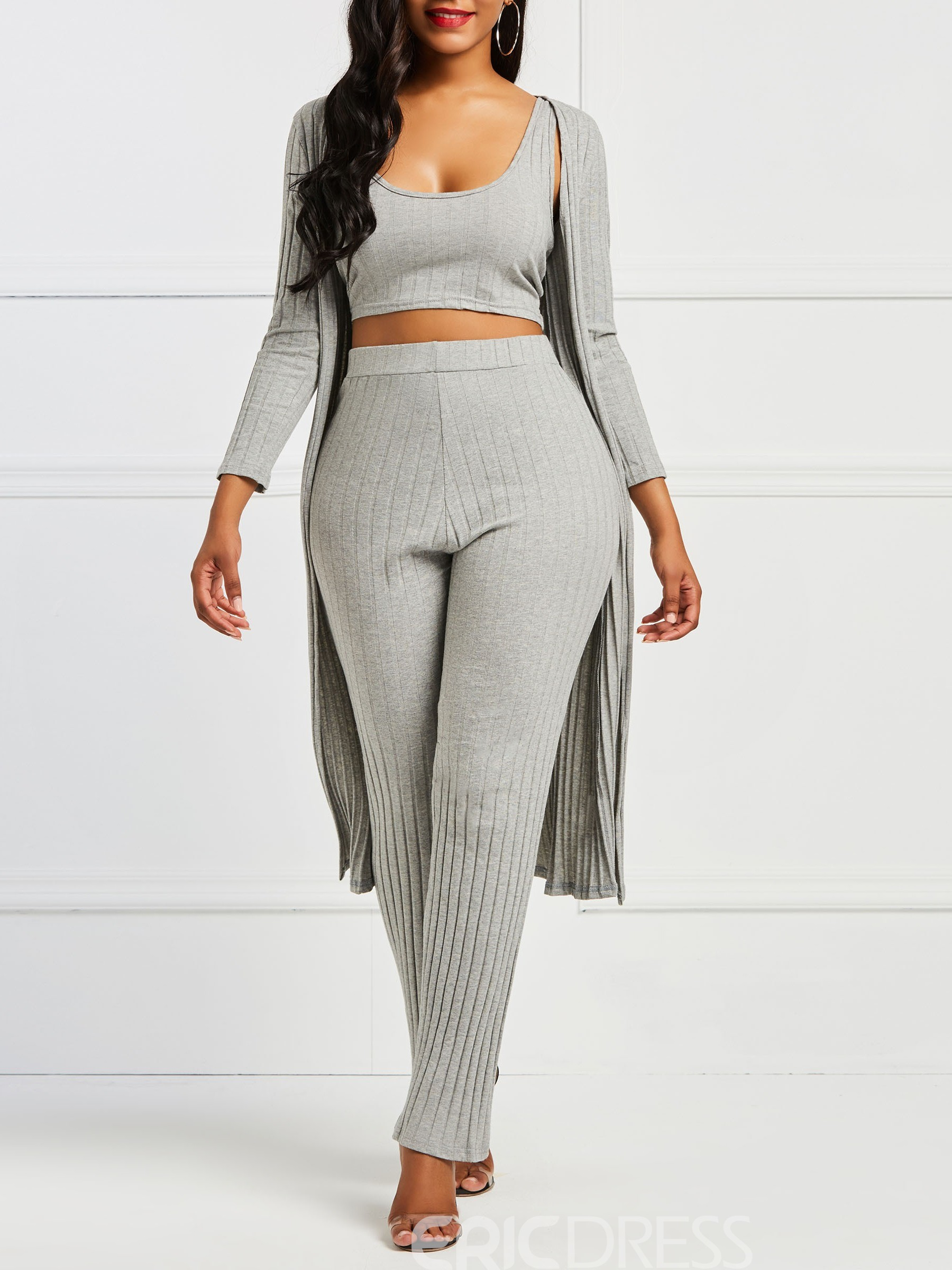 Ericdress Plain Knit Long Sleeves Vest and Coat and Pants Women's Three Piece Set
