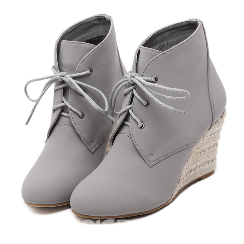 Ericdress Lace-Up Front Wedge Heel Women's Ankle Boots