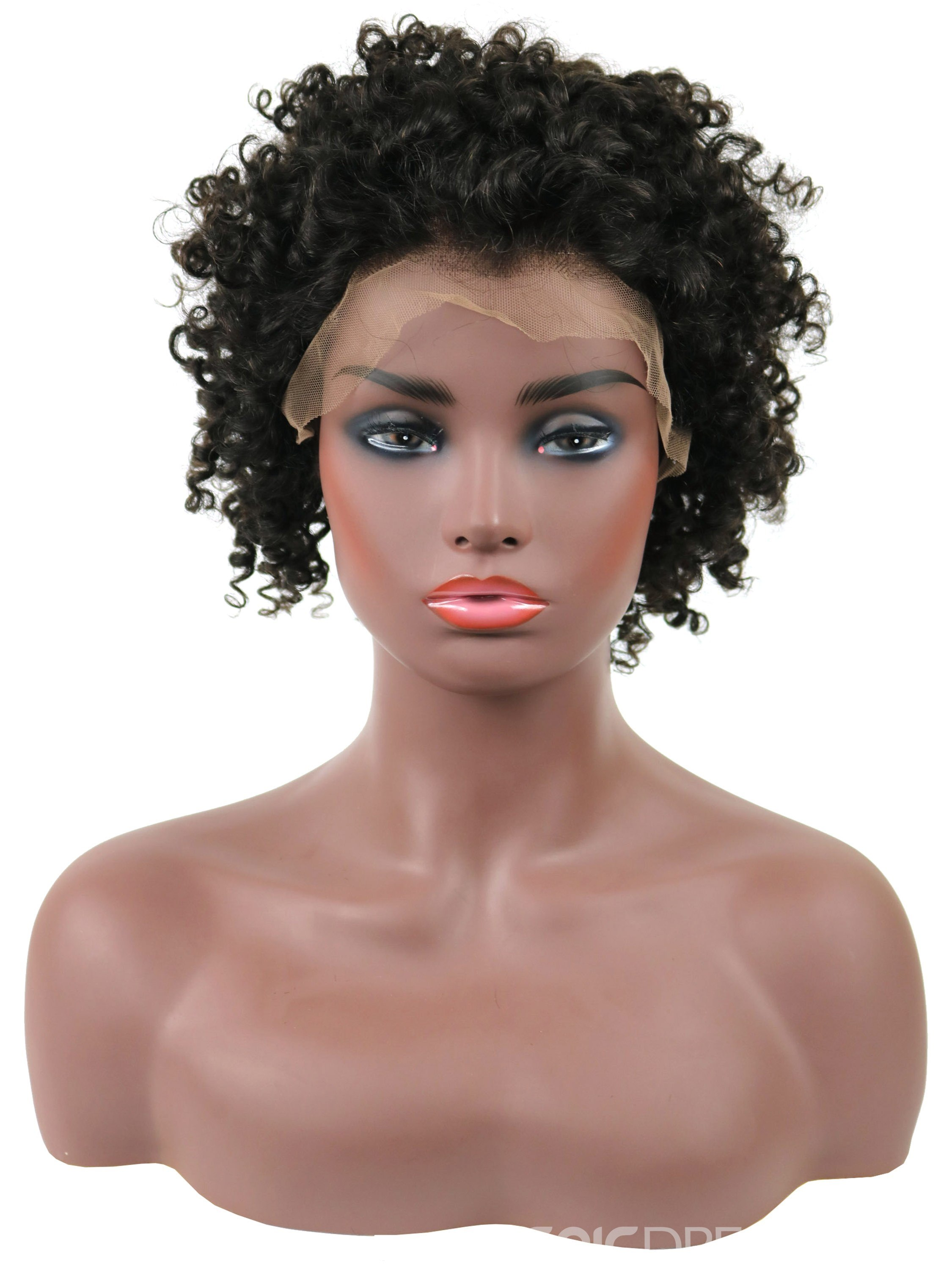 Ericdress Natural Black Kinky Curly Short African American Human Hair Lace Front Cap Wigs 10 Inches