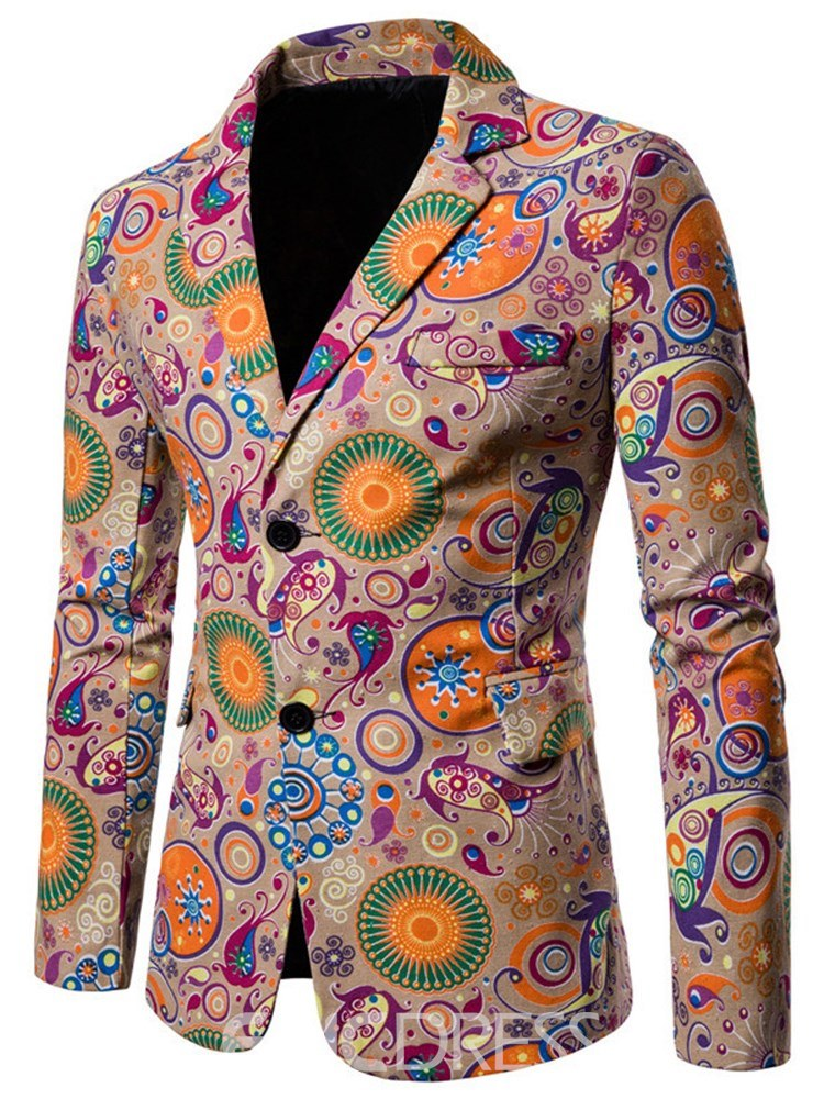 Ericdress Geometric Pattern Floral Print Mens Casual Blazer