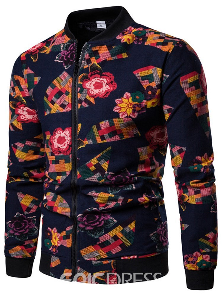 Ericdress Floral Print Black Mens Stand Collar Casual Jacket