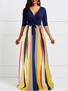 Ericdress V Neck Floor-Length Stripe Women's Dress