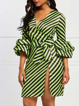 Ericdress Lantern Sleeves Stripe Women's Dress