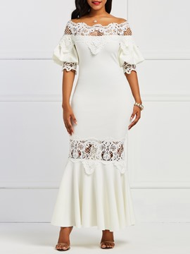 Ericdress White Mermaid Lantern Sleeve Backless Patchwork Lace Dress