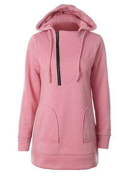 Ericdress Casual Zipper Pocket Mid-Length Cool Hoodie