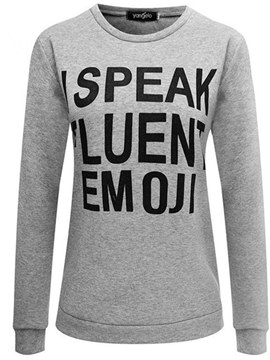 Ericdress Letter Print Pullover Long Sleeves Cool Hoodies