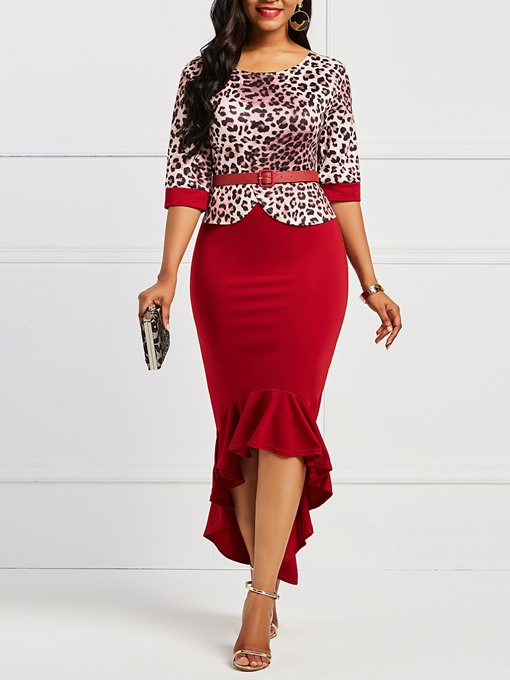 Ericdress Mid-Calf Office Lady Leopard Women's Dress