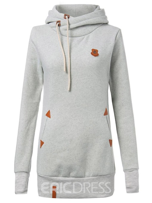 Ericdress Patchwork Plain Mid-Length Cool Hoodie