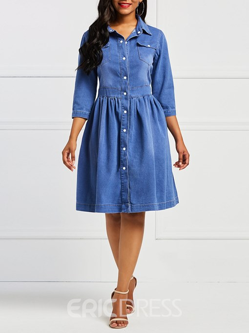 Ericdress Denim Nine Points Sleeves Single-Breasted Women's Dress