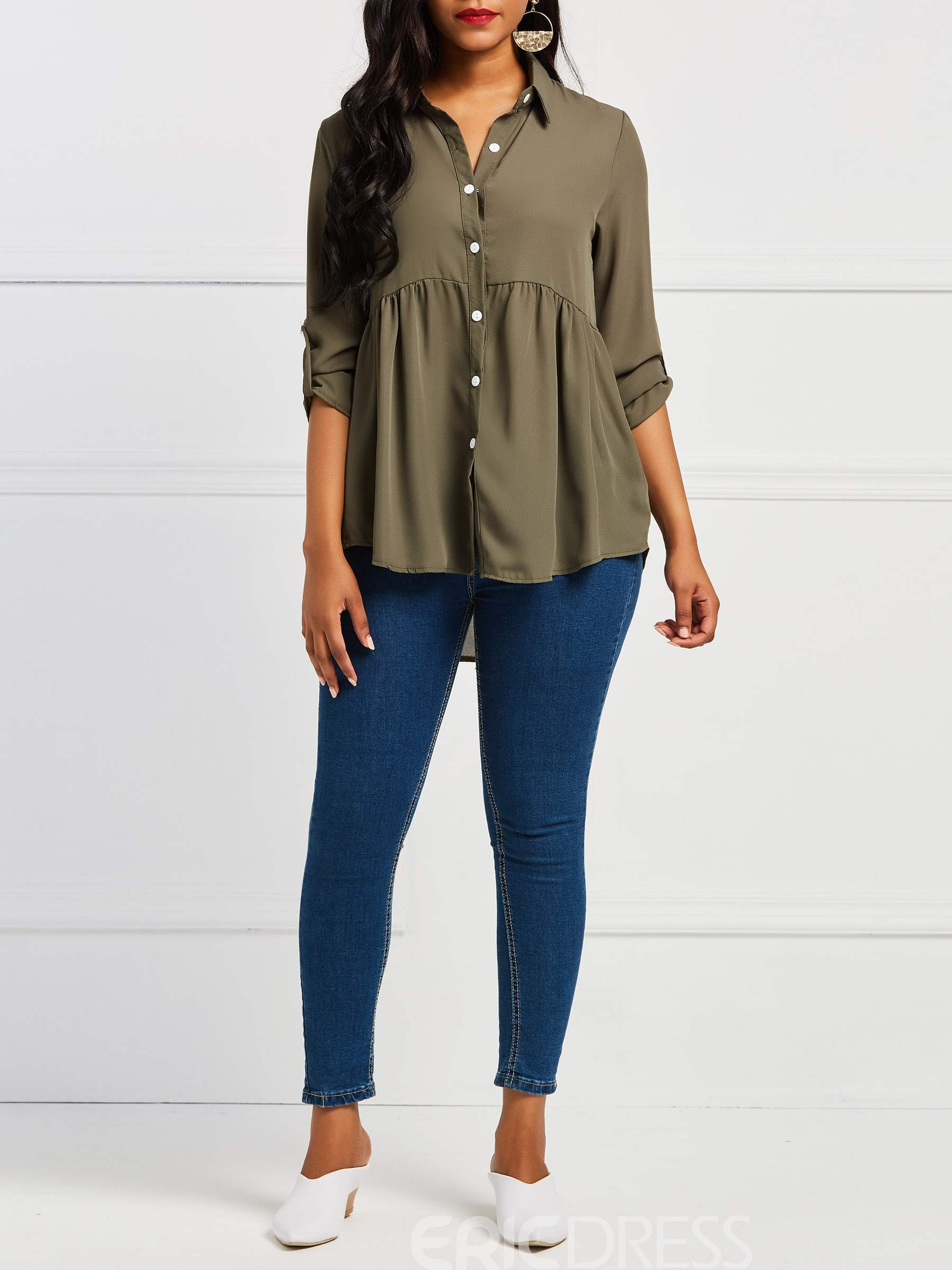 Ericdress Button-Down Plain Pleated Long Sleeve Blouses