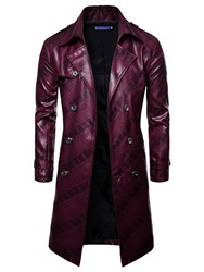Ericdress Plain Double Breasted Slim Mens Mid-Length PU Leather Jacket