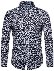 Ericdress Leopard Printed Lapel Slim Mens Casual Shirts