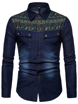 Ericdress Geometric Pattern Print Patchwork Mens Casual Shirts