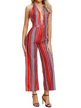 Ericdress Striped Straight Backless Women's Jumpsuits