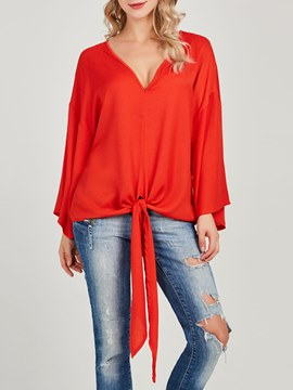 Ericdress Loose V-Neck Plain Lace-Up Blouse