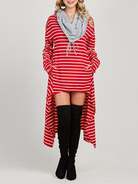 Ericdress Stripe Color Block Heap Collar Asymmetric Cool Hoodie