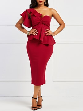 Ericdress Red Double-Layer Ruffle Off Shoulder Bodycon Dress
