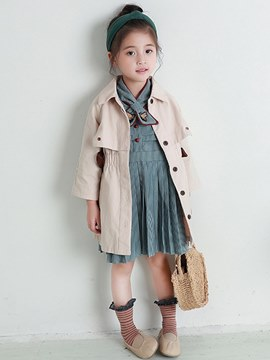 ericdress col polo lace up des manteaux de trench de fille bowknot