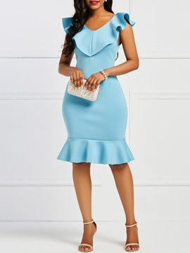 Ericdress Mermaid Ruffles Bodycon Women's Dress