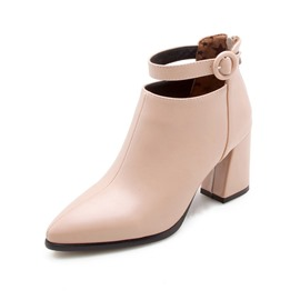 Ericdress Back Zip Pointed Toe Chunky Heel Ankle Boots