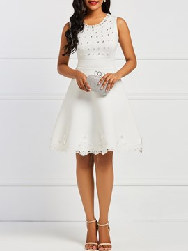 Ericdress A-Line Sleeveless Beads Women's Dress