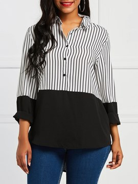 Ericdress Stripe Color Block Single-Breasted Long Sleeve Blouse