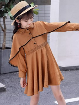 Ericdress Plain Cloak Designed Polo Neck Single Breasted Girl's Dress