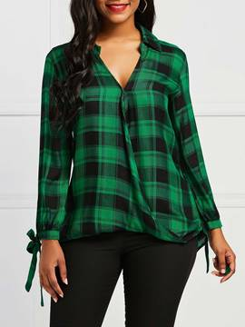 Ericdress Plaid Print V-Neck Loose Long Sleeve Blouse