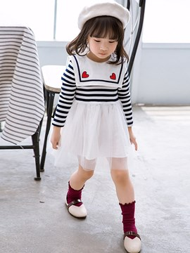 Ericdress Mesh Patchwork Crew Neck A-Line Striped Baby Girl's Dress