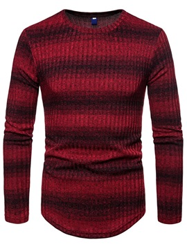 Ericdress Striped Color Block Slim Scoop Mens Casual Sweaters
