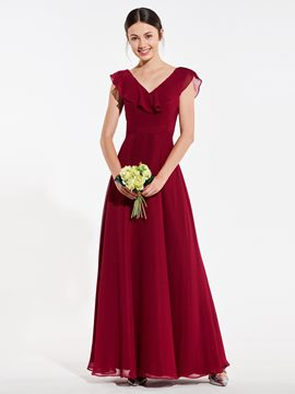 Ericdress A Line V Neck Low Back Bridesmaid Dress