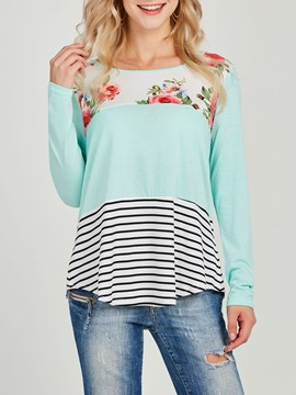 Ericdress Floral Color Block Stripe Long Sleeve T-shirt