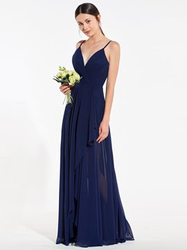 Ericdress A Line Spaghetti Straps Long Bridesmaid Dress