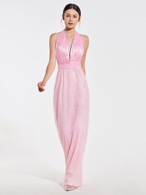 Ericdress A Line Halter Backless Bridesmaid Dress