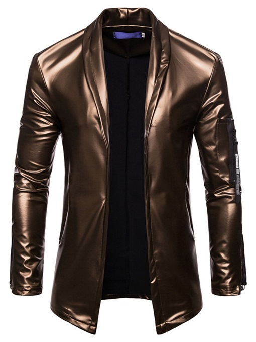 Ericdress Plain Slim Lapel Mens PU Casual Ball Metallic Jacket