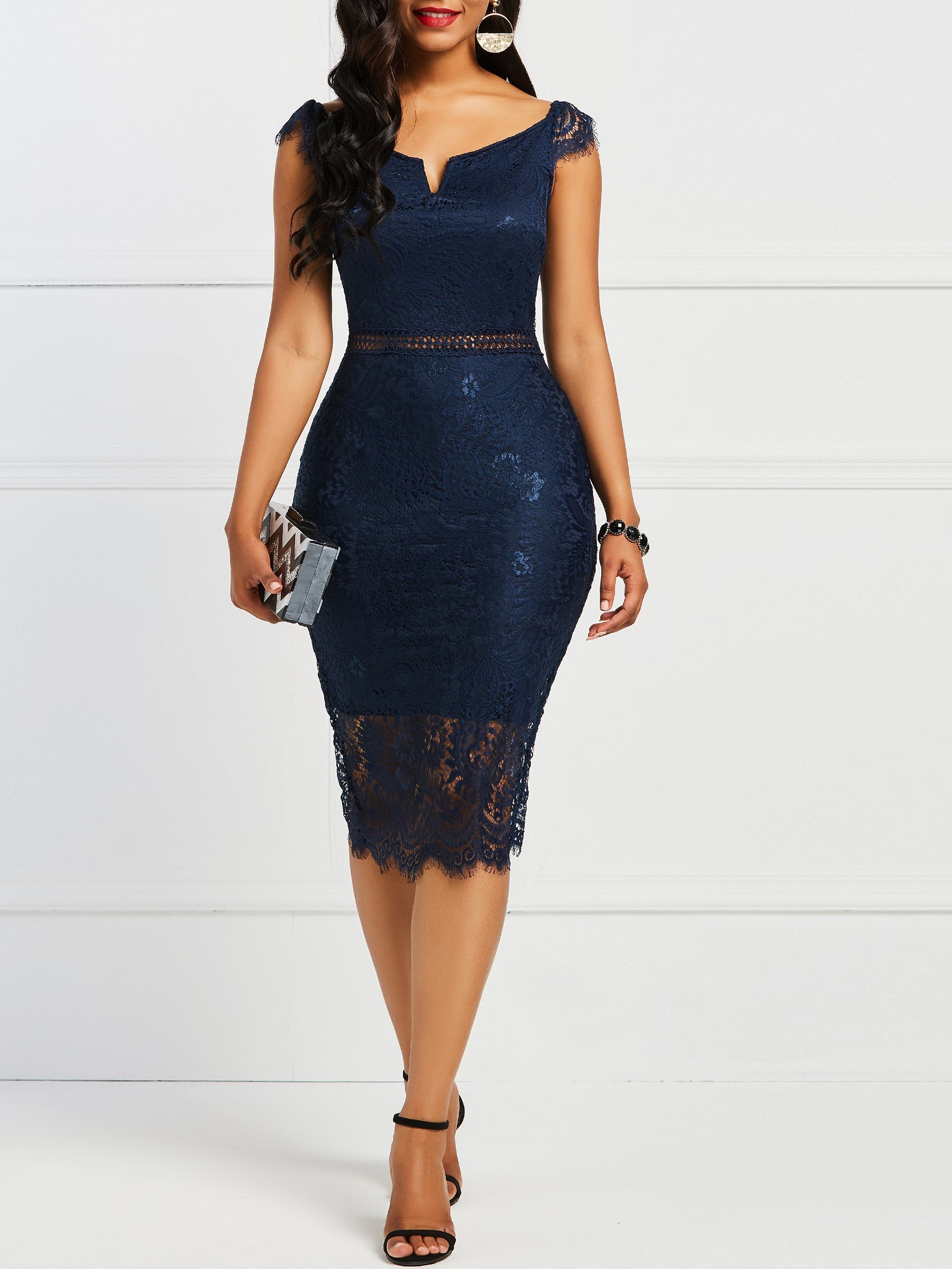 Ericdress Lace Bodycon Mid-Calf Womens Dress 13411244