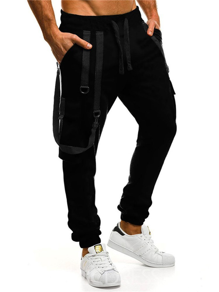 Ericdress Plain Lace Up Patchwork Mens Casual Sports Pants