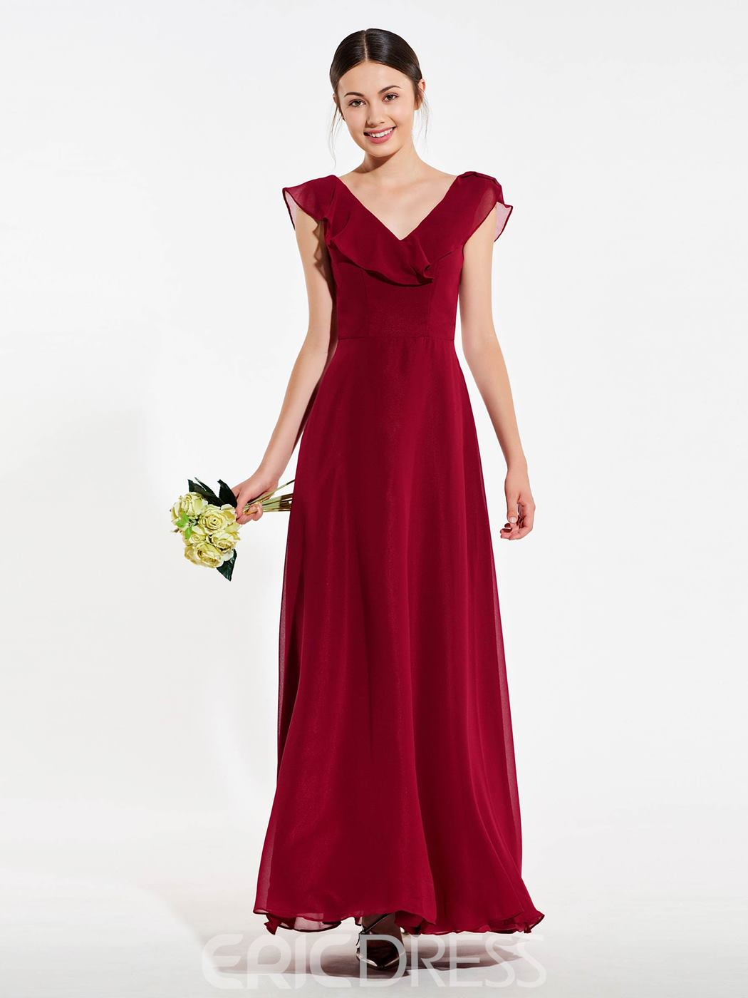 Ericdress A Line V Neck Backless Long Bridesmaid Dress